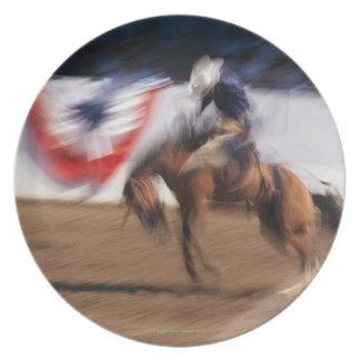 Cowboy on bucking bronco plates