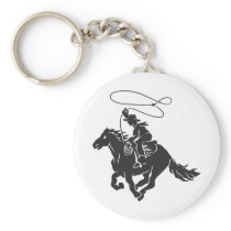 Cowboy on bucking horse running with lasso keychain