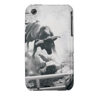 Cowboy on ground after falling off bull iPhone 3 case