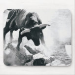 Cowboy on ground after falling off bull mousepad