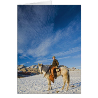 Cowboy on his Horse in the Snow 2 Card