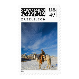 Cowboy on his Horse in the Snow 2 Postage