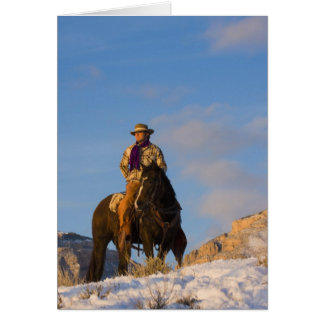 Cowboy on his Horse in the Snow Card