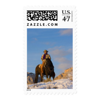 Cowboy on his Horse in the Snow Postage