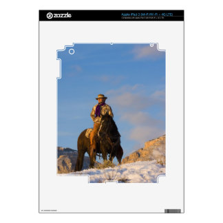 Cowboy on his Horse in the Snow iPad 3 Decal