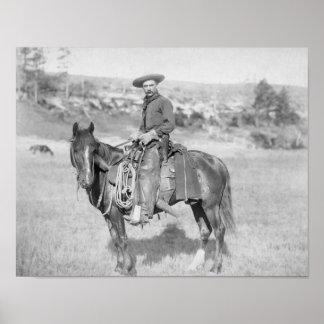 Cowboy on His Horse PhotographSouth Dakota Poster