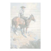 Cowboy on His Horse Stationery