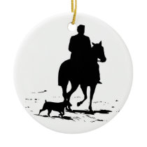 Cowboy On His Horse With His Dog Ornament