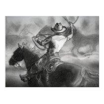 Cowboy on Horse Artwork Postcard