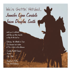 Cowboy on Horse Country Western Wedding Invitation