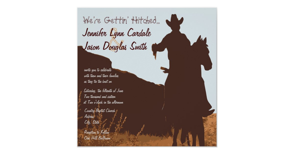 Western Wedding Invitation Wording: Cowboy On Horse Country Western Wedding Invitation