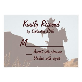 Cowboy on Horse Country Western Wedding RSVP Cards