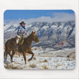 Cowboy on Horse wearing Leather Chaps 2 Mouse Pad