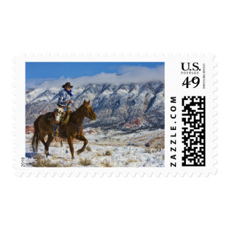 Cowboy on Horse wearing Leather Chaps 2 Postage