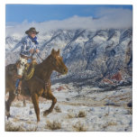 Cowboy on Horse wearing Leather Chaps 2 Ceramic Tile
