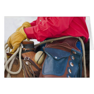 Cowboy on Horse wearing Leather Chaps Greeting Card