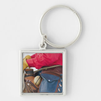 Cowboy on Horse wearing Leather Chaps Keychain