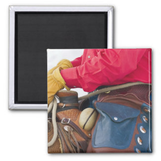 Cowboy on Horse wearing Leather Chaps Refrigerator Magnet
