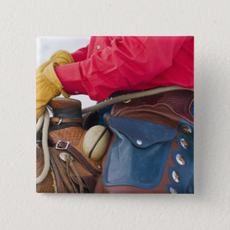 Cowboy on Horse wearing Leather Chaps Pinback Button
