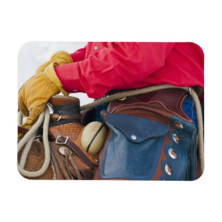 Cowboy on Horse wearing Leather Chaps Rectangle Magnets