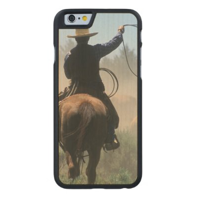 Cowboy on horse with lasso driving cattle carved® maple iPhone 6 slim case