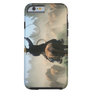 Cowboy on horse with lasso driving cattle iPhone 6 case