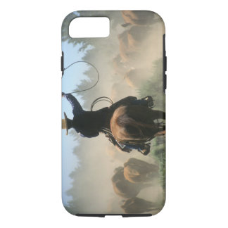 Cowboy on horse with lasso driving cattle iPhone 8/7 case