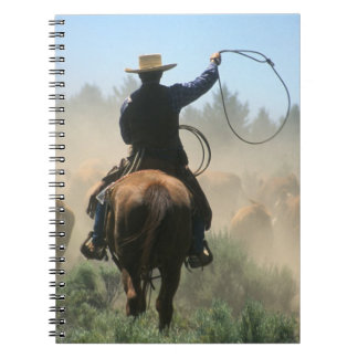 Cowboy on horse with lasso driving cattle notebook