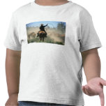 Cowboy on horse with lasso driving cattle tshirts