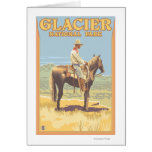 Cowboy on Horseback - Glacier National Park, Card