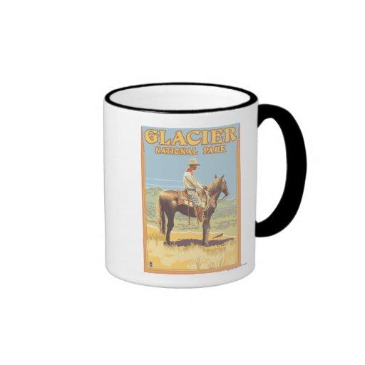 Cowboy on Horseback - Glacier National Park, Mugs