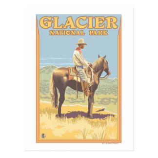Cowboy on Horseback - Glacier National Park, Postcard