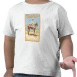 Cowboy on Horseback - Glacier National Park, Tee Shirts
