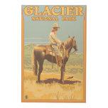 Cowboy on Horseback - Glacier National Park, Wood Print