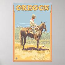 Cowboy on Horseback - Oregon Poster