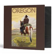 Cowboy on Horseback Vintage Travel Poster Binder