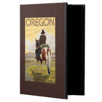 Cowboy on Horseback Vintage Travel Poster iPad Air Cover