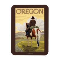 Cowboy on Horseback Vintage Travel Poster Magnet
