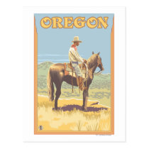 Cowboy on Horseback- Vintage Travel Poster Postcard