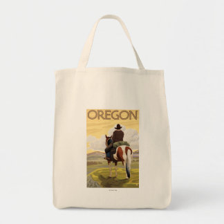 Cowboy on Horseback Vintage Travel Poster Tote Bag
