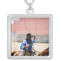 Cowboy on horseback with lasso, George Ranch, Silver Plated Necklace