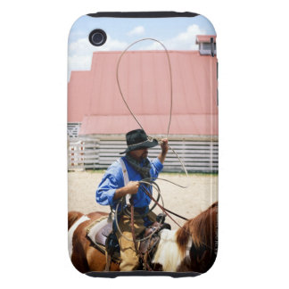 Cowboy on horseback with lasso, George Ranch, Tough iPhone 3 Cases