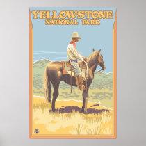 Cowboy on Horseback - Yellowstone National Park Poster