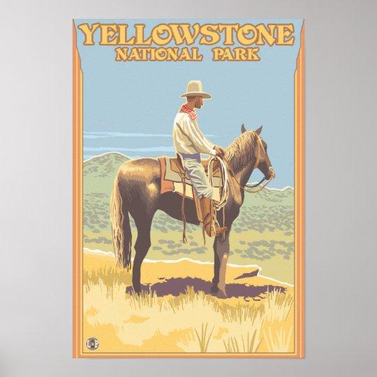 Cowboy on Horseback - Yellowstone National Poster