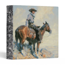 Cowboy on Look Out! Art Print Avery Binder