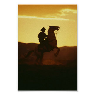Cowboy on Rearing Horse Poster