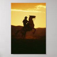 Cowboy on Rearing Horse Print