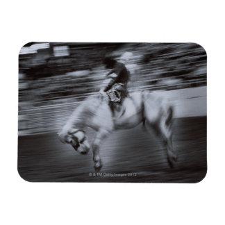 Cowboy on Rodeo Horse Rectangular Photo Magnet