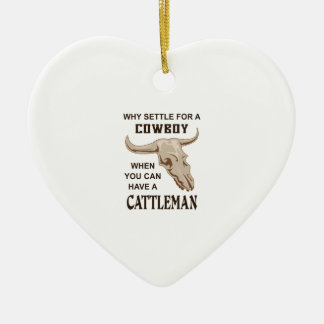 COWBOY OR CATTLEMAN Double-Sided HEART CERAMIC CHRISTMAS ORNAMENT
