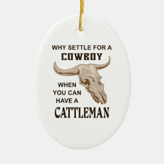 COWBOY OR CATTLEMAN Double-Sided OVAL CERAMIC CHRISTMAS ORNAMENT